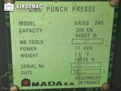 Nameplate of AMADA ARIES 245 Machine